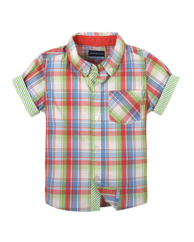 Short-Sleeve Madras Plaid Shirt, Red, Size 2-6