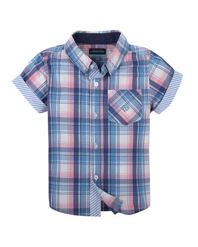 Short-Sleeve Madras Plaid Shirt, Navy, Size 2-6
