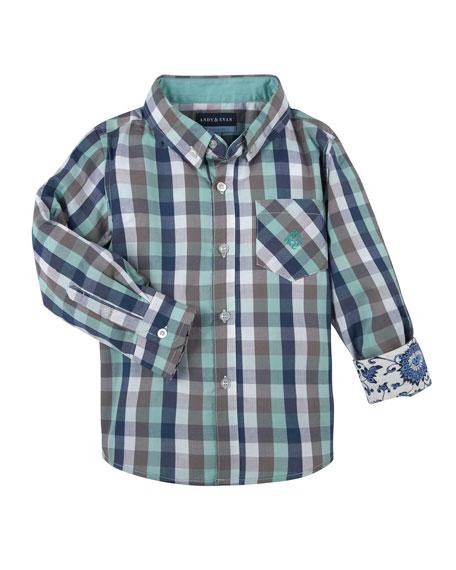 Andy & Evan Long-Sleeve Poplin Gingham Shirt, Light