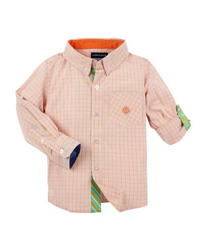 Long-Sleeve Cotton Check Shirt, Orange, Size 2-6