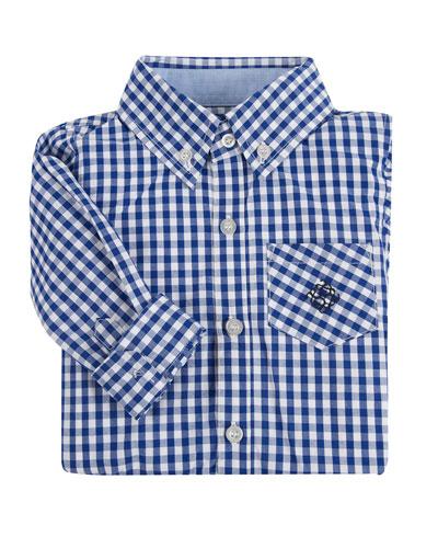 Poplin Classic Gingham Shirt, Navy, Size 2-6