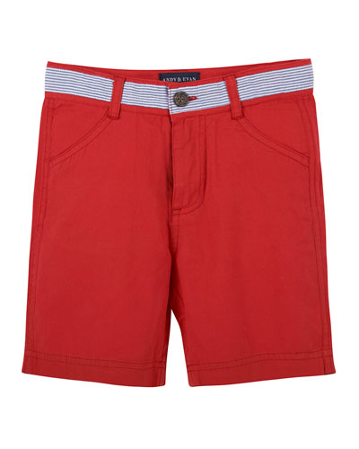 Seersucker-Trim Twill Shorts, Red, Size 2-6
