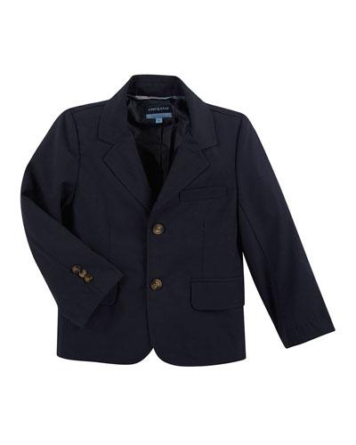 Cotton Two-Button Blazer, Navy, Size 2-6