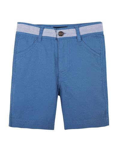 Seersucker-Trim Twill Shorts, Blue, Size 6-24 Months