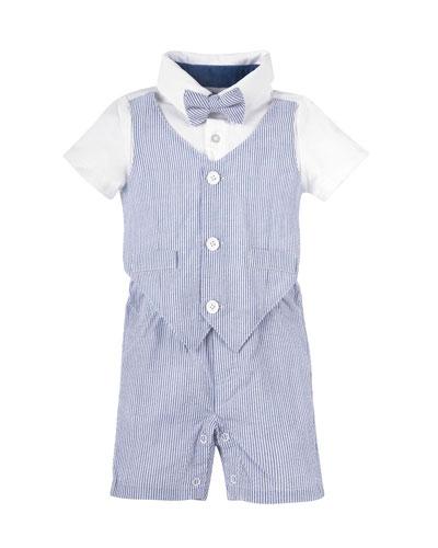 Short-Sleeve Striped Seersucker Playsuit, Light Blue, Size 3-18 Months