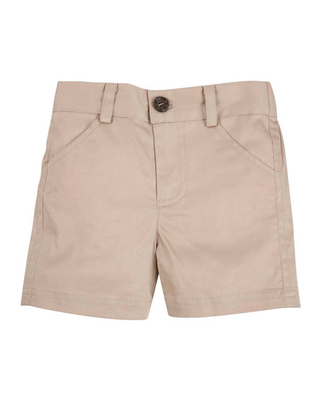 Andy & Evan Stretch Twill Shorts, Khaki, Size