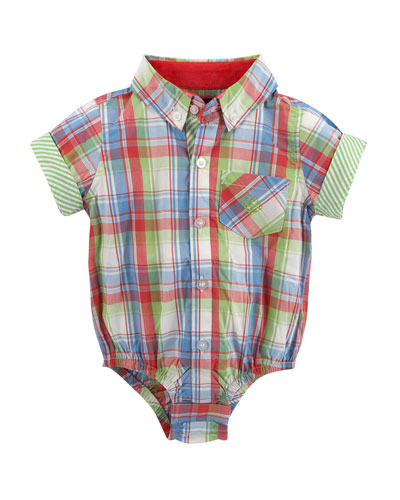 Short-Sleeve Madras Plaid Shirtzie™, Red, Size 6-24 Months