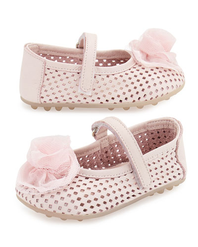 Laser-Cut Leather Mary Jane Flat, Pink, Toddler
