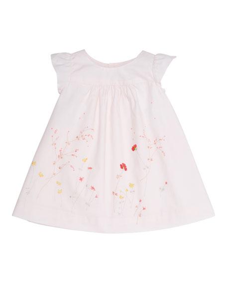 Bonpoint Sleeveless Floral Poplin Shift Dress, Baby Pink, Size 18M-2Y