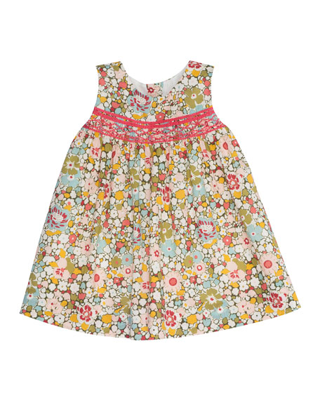 Bonpoint Sleeveless Floral Poplin Shift Dress, Red/Multicolor, Size 18M-2Y