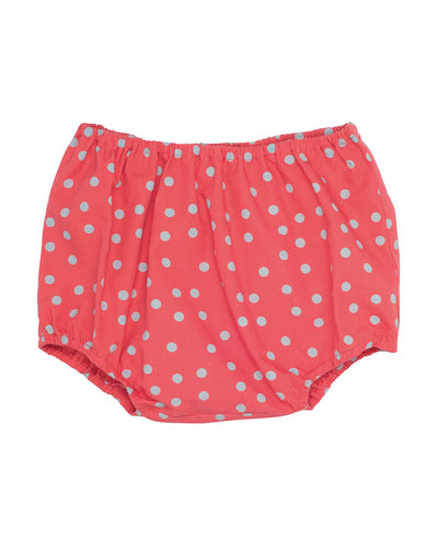 Cotton Polka-Dot Bloomers, Poppy Red, Size 18M-2Y
