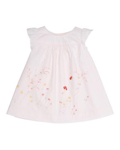 Sleeveless Floral Poplin Shift Dress, Baby Pink, Size 6-12 Months