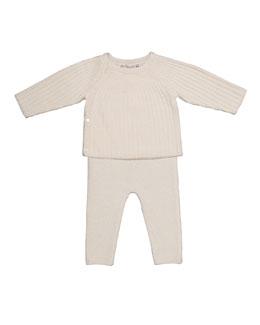 Cashmere Pajama Set, White, Size Newborn-6 Months