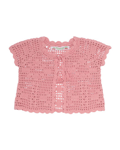 Cotton Crochet Bolero, Pink, Size 3-6 Months