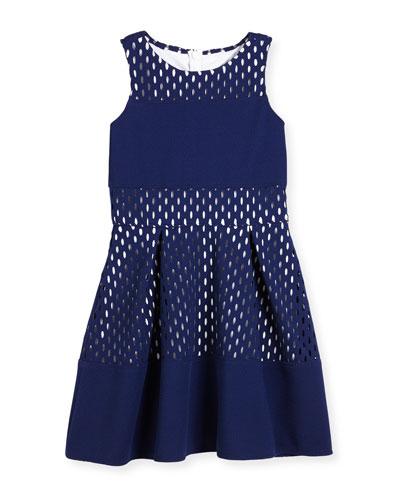 Sleeveless Laser-Cut Pique A-Line Dress, Blue, Size 8-16