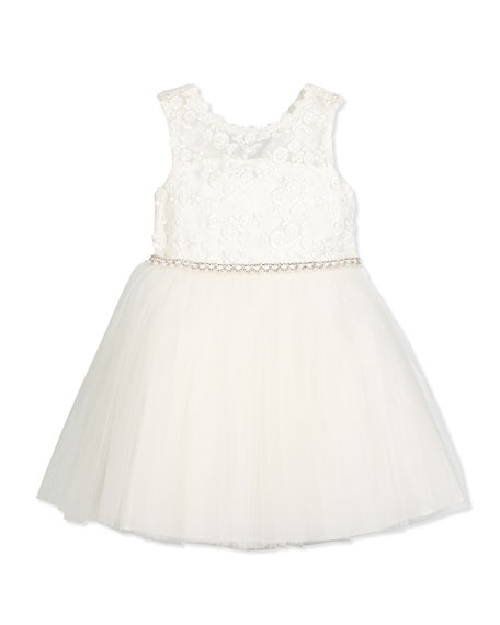 David Charles Sleeveless Lace & Tulle Special Occasion Dress, Ivory, Size ...