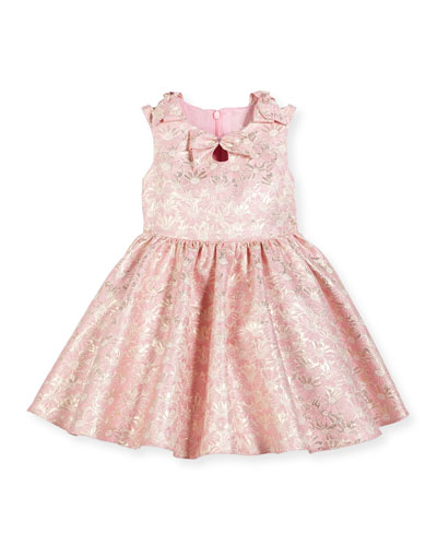 Sleeveless Daisy Brocade A-Line Dress, Pink, Size 2-6