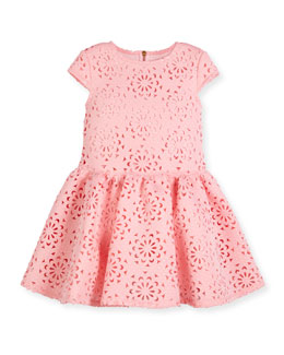 Cap-Sleeve Neoprene Laser-Cut Dress, Pink, Size 4-10