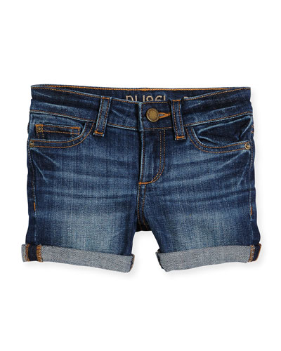 Piper Cuffed Denim Shorts, Sea Lion, Size 7-16