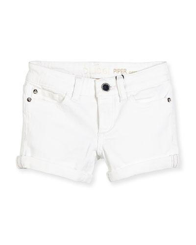 Piper Cuffed Denim Shorts, Griffon, Size 7-16