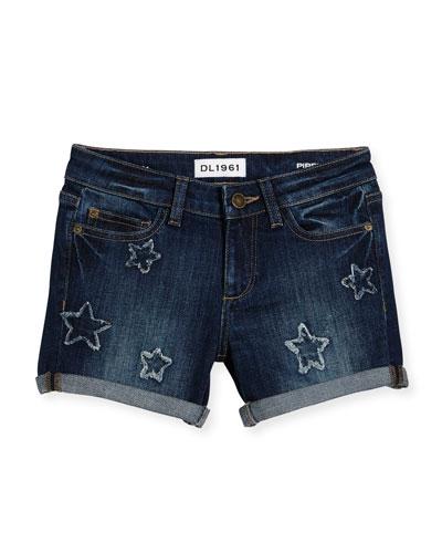 Piper Star-Patch Cuffed Shorts, Gumdrop, Size 7-16