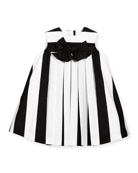 Helena Striped Pleated Shift Dress, Black/White, Size 6M-3
