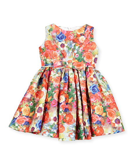 Helena Sleeveless Crinkled Floral Circle Dress, Coral, Size 12M-3
