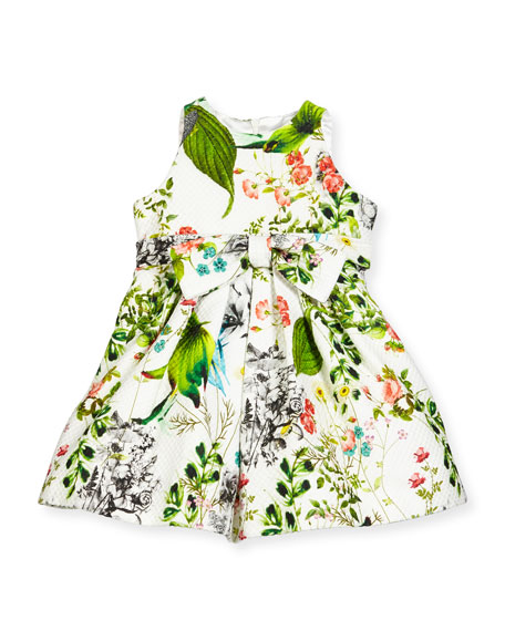 Helena Sleeveless Floral Pique A-Line Dress, White/Multicolor, Size 4-6