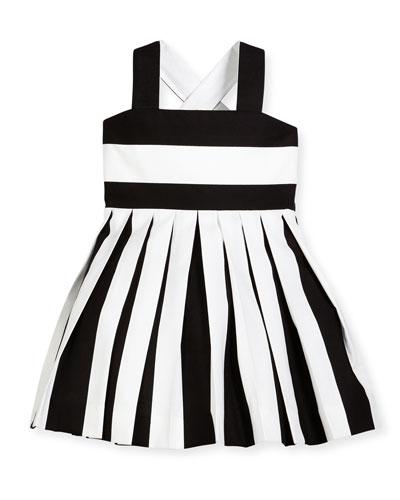 Striped Pleated Cross-Back Sundress, Black/White, Size 7-12