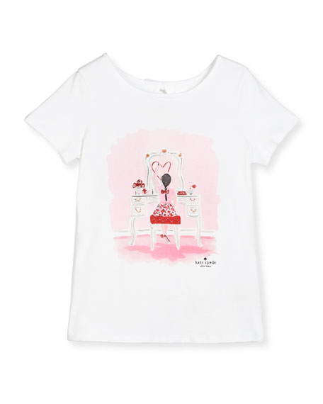 kate spade new york caitlin vanity jersey tee, white, size 7-14