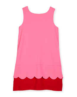 sleeveless bow-back ponte shift dress, pink/red, size 7-14