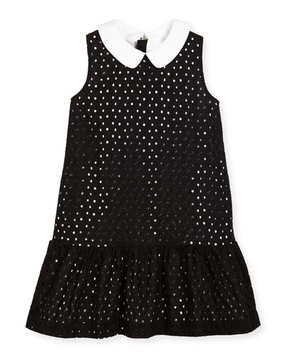 sleeveless collared eyelet dress, black, size 7-14
