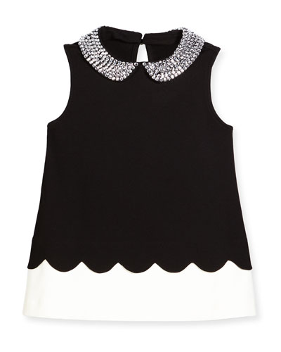 sleeveless embellished ponte top, black/white, size 7-14