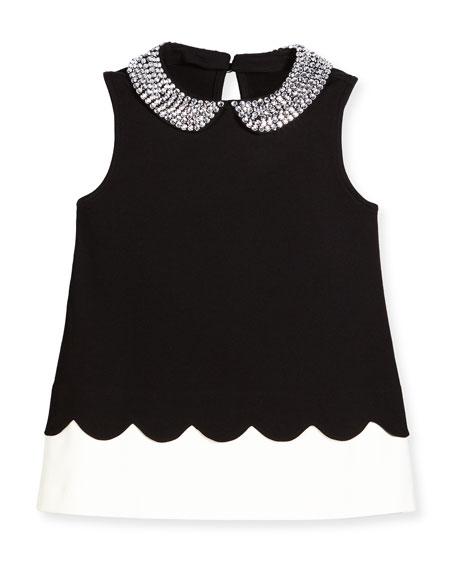 e52eded11c kate spade new york sleeveless embellished ponte top, black/white, size 7-14