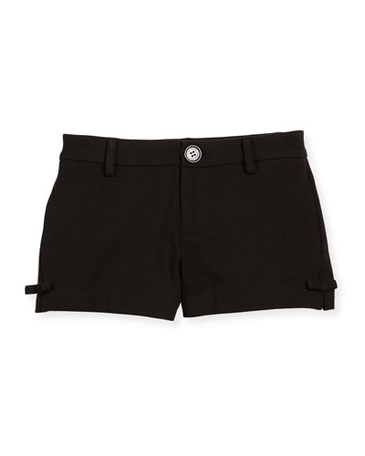 jackie ponte bow-trim shorts, black, size 7-14