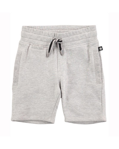 Cotton-Blend Drawstring Sweat Shorts, Gray Melange, Size 4-6