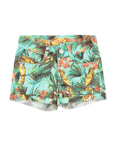 Stretch Denim Cockatoo Shorts, Turquoise, Size 8-14