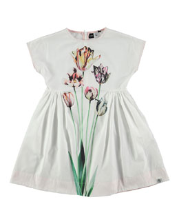 Cap-Sleeve Poplin Tulip Dress, White, Size 3-12