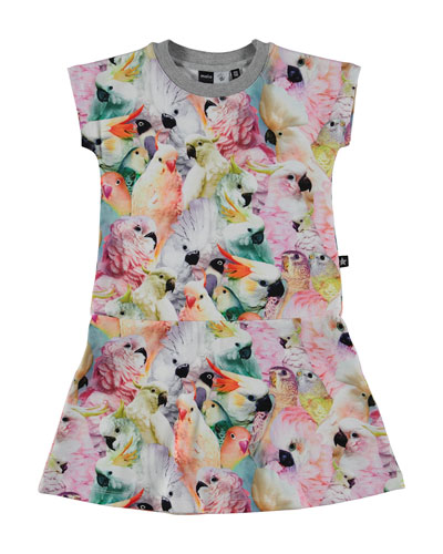 Cockatoo Fit-and-Flare Jersey Dress, Multicolor, Size 3-12