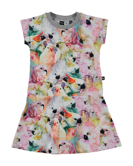molo Cockatoo Fit-and-Flare Jersey Dress, Multicolor, Size 3-12