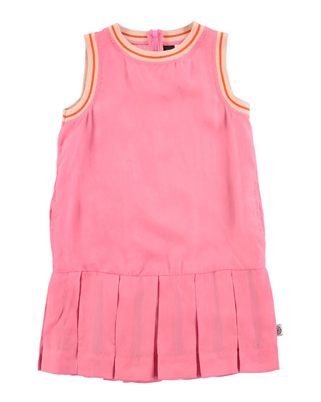 Molo Sleeveless Tipped Pleated Dress, Carnation Pink, Size