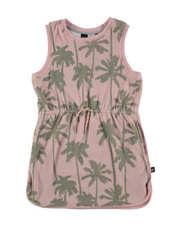 Sleeveless Terry Palm Tree Dress, Pink, Size 3-14