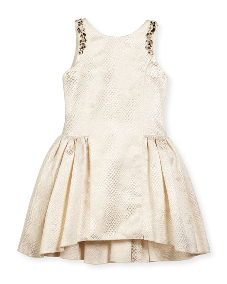 Zoe Sleeveless Embossed Metallic A-Line Dress, Gold, Size