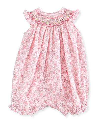 Sleeveless Floral Bubble Playsuit, Pink, Size 3-9 Months