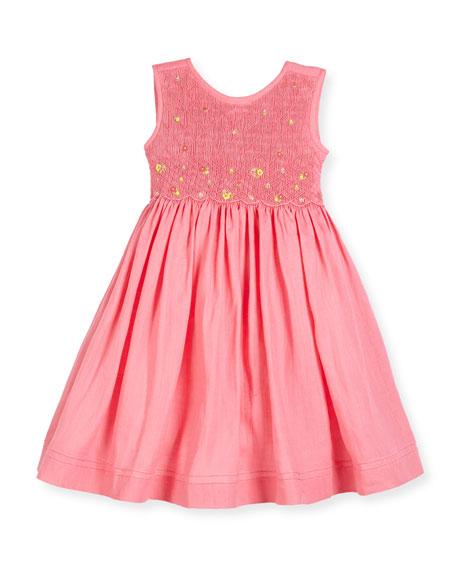 Luli & Me Sleeveless Embroidered Smocked Sundress, Pink, Size 2-6