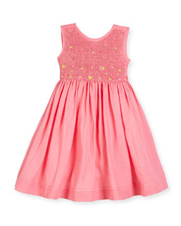 Sleeveless Embroidered Smocked Sundress, Pink, Size 7-10