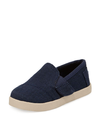 Burlap Slip-On Avalon Shoe, Navy, Tiny