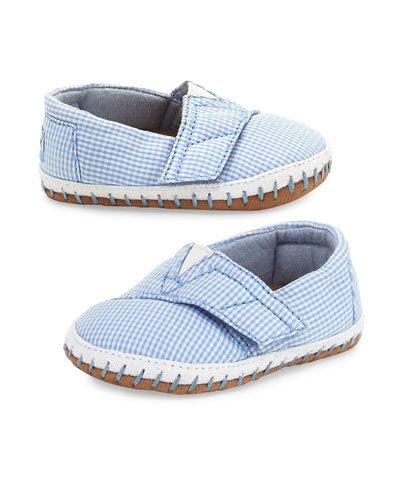 Gingham Crib Alpargata Shoe, Bright Blue, Tiny
