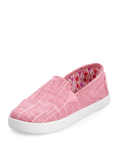 Metallic Linen Avalon Slip-On Shoe, Pink, Youth