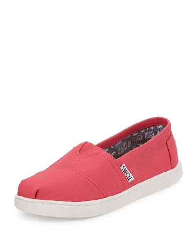 Classic Alpargata Canvas Slip-On Shoe, Medium Pink, Youth